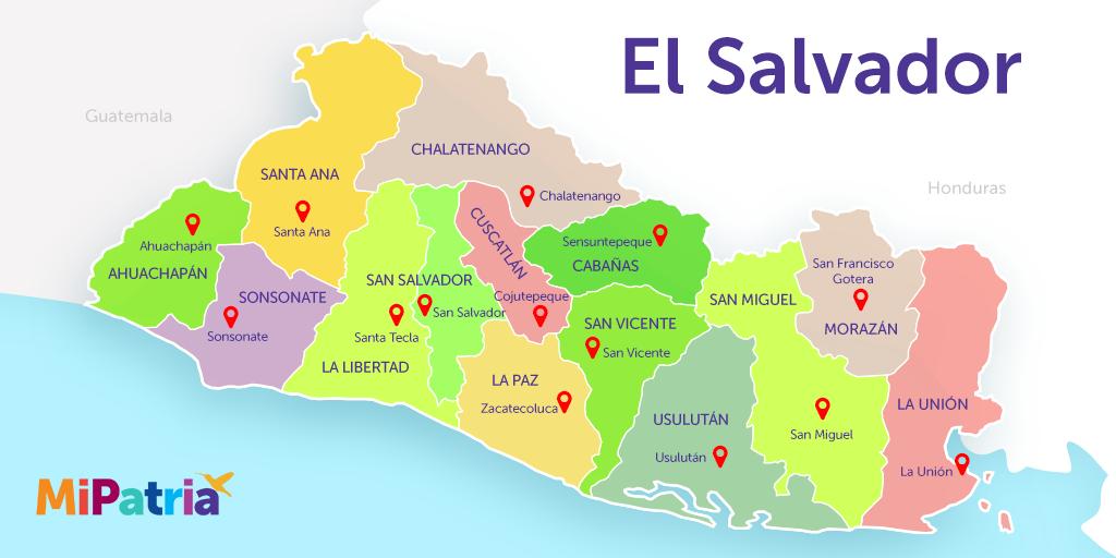 mapa de el salvador con sus departamentos y cabeceras departamentales, political map of el salvador