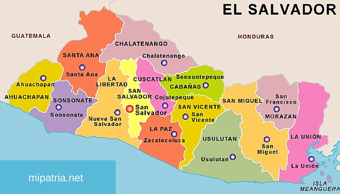 mapa de el salvador con sus departamentos