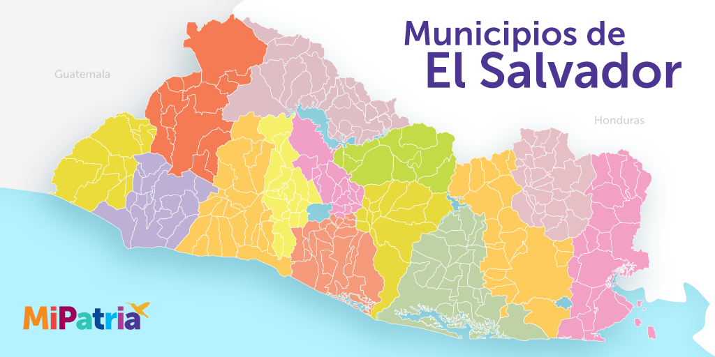 Mapa de los 262 municipios de el salvador, political map of el salvador