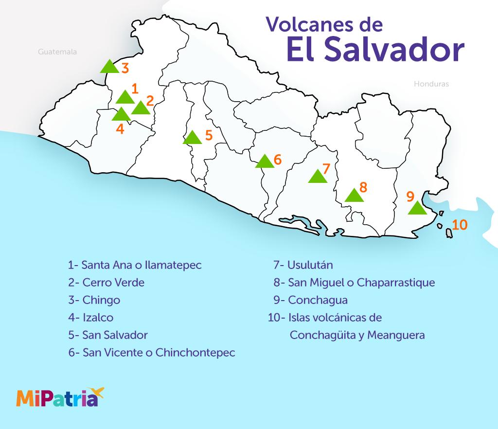 mapa de el salvador con sus volcanes, volcano map of el salvador