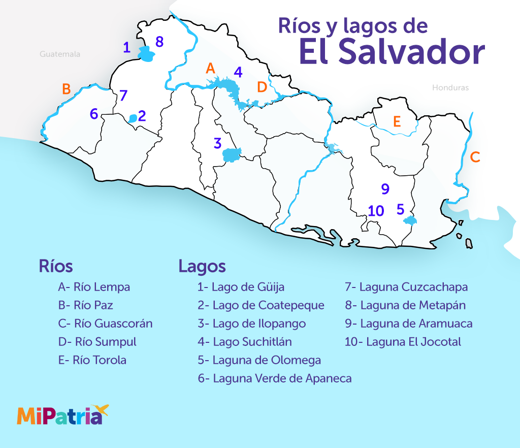 mapa de el salvador con sus rios y lagos, map of rivers and lakes of el salvador