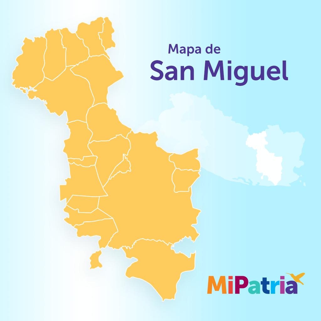 Mapa del departamento de san miguel, el salvador. San Miguel department map