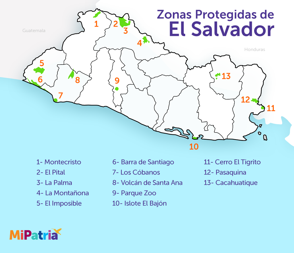 mapa de las zonas naturales protegidas de el salvador, map of natural zones of el salvador
