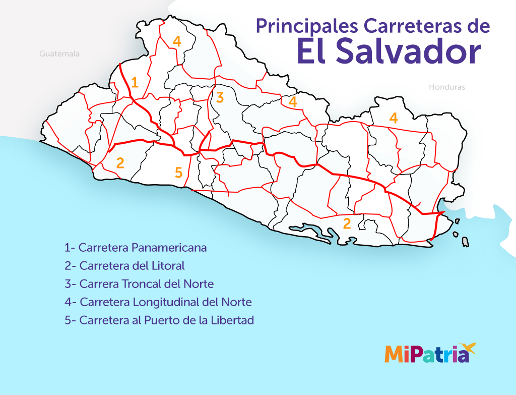 mapa de las principales carreteras de el salvador, map of main roads of el salvador