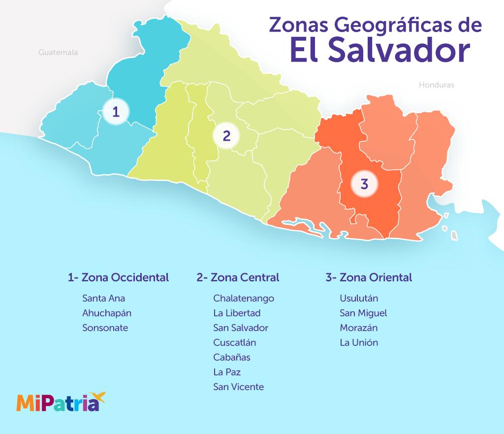 mapa de las zonas geograficas de el salvador, el salvador geographic zones